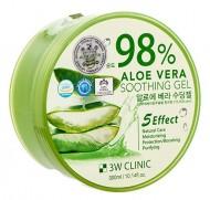 Гель многофункциональный с алоэ вера 98% 3W CLINIC Aloe vera soothing gel 300г: фото